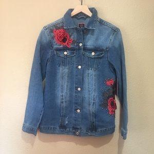 Boom Boom Jeans Oversized 3D Applique Denim Jacket